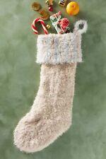 Anthroplogie Patterned Faux Fur Pale Green /& White Polka Dot Christmas Stocking