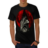 Wellcoda Blood Moon Vampire Mens T-shirt, Bat Graphic Design Printed Tee