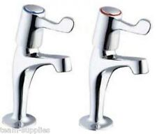 LEVER KITCHEN SINK PILLAR TAPS CHROME PAIR EASY USE 1/4 TURN HOT & COLD SET HST
