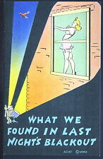 Risque Military Humor - Woman in Lingerie During Air Raid Warn  - Patriotic P493