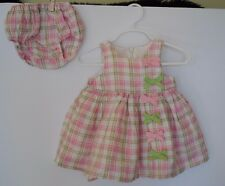 Infant Baby Girl Pink and Green Plaid Spring / Summer Dress 3-6 months