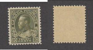 MNH Canada 20c Dark Olive Green KGV Admiral - Wet Printing #119c (Lot #20126)