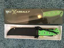 """Tac Assault TA-011GN  12"""" Overall Black Blade Green Handle Sheath"""