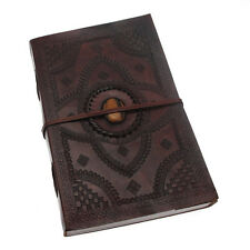 Indra Fair Trade Handmade A4 Embossed Stoned Leather Journal Scrapbook