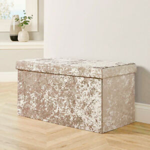 Large 2 Seater Crushed Velvet Foldable Ottoman Storage Box Double Bed Foot Stool