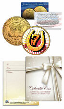 LUCKY NUMBER 7 HORSESHOE Coin JFK Half Dollar - Poker Card Guard Protector Cover