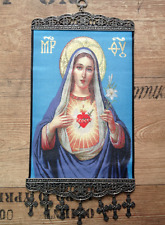 SACRED HEART of MARY MOTHER w CROSSES TAPESTRY BIG WALL HANGING 20x32 cm