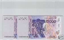 Bceao Mali Set of Two 10 000 Francs Part Numbers Consecutive 2003 (2013)