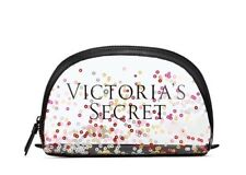 NEW Victorias Secret Clear confetti Makeup Cosmetic Bag Zip Up Clear Large