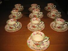 10 VINTAGE MASONS IRONSTONE DEMITASSE CUPS AND SAUCERS MIKADO PATTERN # 2838