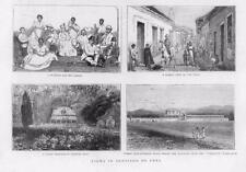 1873 ANTIQUE PRINT-Caraïbes Cuba Santiago marchands House Jardinières (18B)