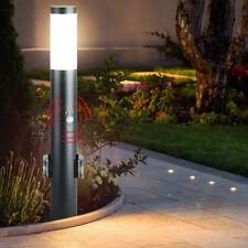 Lámpara de Pie 2x Exterior Enchufe Movimiento Jardín Acero Inoxidable Antracita