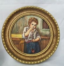 VINTAGE SCULPTURED ARTINI ENGRAVING FRAMED ART Young Boy Handpainted Twin etched