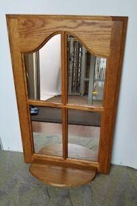 Large Vintage Foyer Entry Hallway Oak Window Pane Mirror With Shelf