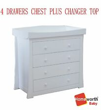 NEW 4 drawers chest  dresser  changing change table for crib baby bed cot white