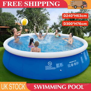 Large Family Swimming Pool Garden Outdoor Inflatable Kids Pools 8/10FT +Air Pump