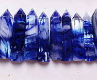 1.1lb (6-9PCS)BEATIFUL BLUE SMELTING SMELT QUARTZ CRYSTAL POINT WAND HEALING
