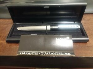 MONT BLANC CARRERA FOUNTAIN PEN BOXED + PAPERS. BLACK & STEEL. MINTY