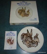 Goebel W. Germany 1975 First Edition Mothers Series Bunny Rabbit Family Plate