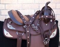 Western Horse Saddle Barrel Racing Trail Brown Texas Star Tack Used 14 15 16 17