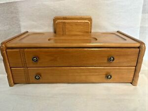 Mele Men's Wooden Dresser Top Valet 2 Drawer Wallet Jewelry Organizer Box MCM