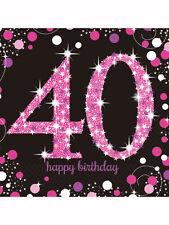 16 x 40th fête d'anniversaire rose sparkle décoratifs serviettes/serviettes