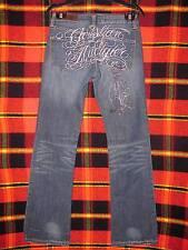 Women's Christian Audigier Jeans Size 27 x 34 Low Rise Fit Thick Stitch Denim