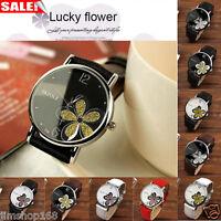 Fashion Women's Watches Ladies Leather Flower Analog Quartz Bracelet Wrist Watch