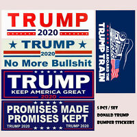 5 Pcs Set Donald Trump Bumper Stickers 2020 Keep America Great Train Sticker US