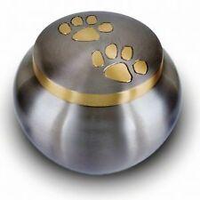 "Solid brass cat dog pet paw print cremation funeral urn pewter LARGE 6"" BNIB"