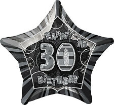 """30TH BIRTHDAY CELEBRATIONS""      30th Glitz Black & Silver 20"" Foil Balloon!"