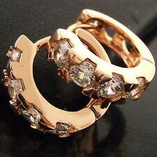 Solid Diamond Simulated Huggie Hoop Earrings Fs547 Genuine 18K Rose G/F Gold