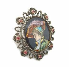 Renaissance Revival Limoges Enamel Brooch - Gold & Silver with Rubies - C. 1892