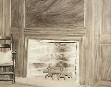 CD-084 CT, Mansfield House Real Photo Postcard RPPC Interior Fireplace EKT paper