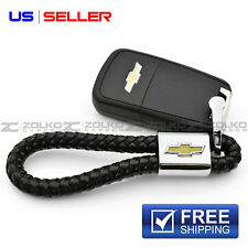 KEYCHAIN KEY CHAIN RING BLACK LEATHER FOR CHEVROLET CHEVY EE18 - US SELLER
