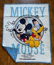 New listing Disney Mickey Mouse & Pluto Nautical Porthole Quilted Blanket Throw 100% Cotton