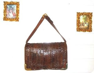 Vintage ADOLF EUROPE Leder Tasche Leather Bag Handtasche Clutch Schlange Braun