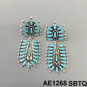 Bohemian Style Silver Tone Turquoise Stone Squash Bloom Western Design Earrings