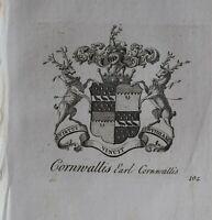 1756 Antico Stampa Famiglia Crest Cappotto Di Braccia Cornwallis Earl