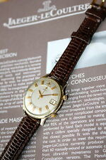 OUTSTANDING GOLD  JAEGER LECOULTRE MEMOVOX WRIST ALARM&DATE VINTAGE WATCH 2BANDS