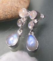 925 sterling silver triple cabochon rainbow moonstone earrings. Gift bag.