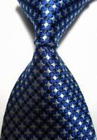 Hot! Classic Plaids Blue White JACQUARD WOVEN 100% Silk Men's Tie Necktie