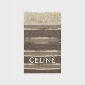 CELINE 690$ Beach Fouta/Towel In Striped Linen With CELINE Print