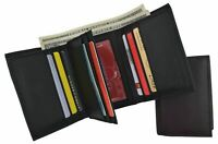 RFID Blocking Men's Premium Leather Trifold Flap ID Card Holder Wallet