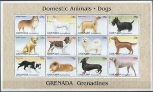 [GR] Grenada Grenadines 1995 Dogs, DOMESTIC PETS. Sheet of 12 MNH Stamps.