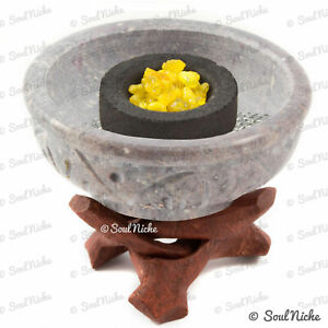 Small Stone Resin Charcoal Incense Burner, Cone Burner, Smudge Pot w/ Wood Stand