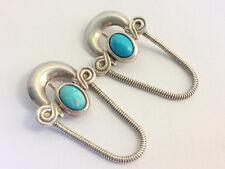 Italienische Designer Ohrringe Silber 925 mit Türkis 1950