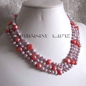 """52"""" 5-9mm Pink Red Baroque Freshwater Pearl Necklace  U"""