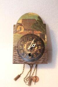 Antik Miniaturuhren Firma Wintermantel Holzschild 1Tagewerk Wanduhr