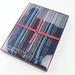 ~ RJR. John Rocha ~ 100% Merino Wool Scarf Blue / Grey / Brown ~ Stripe ~ BNIB ~